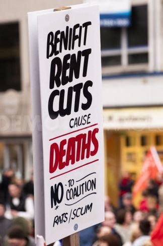 Misspelled protest placard, Belfast 30 November 2011 (close-up)