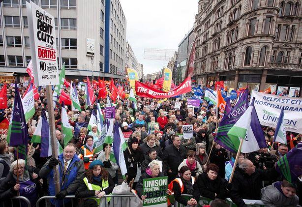 Misspelled placard at Belfast protest, 30 Nov 2011
